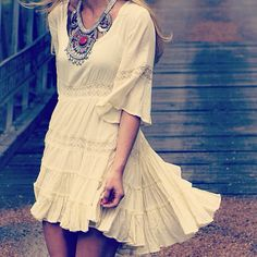 Pretty modern hippie ruffled crochet dress with gypsy chunky necklace, sexy Bohemian clothing. For the BEST boho chic fashion & jewelry FOLLOW http://www.pinterest.com/happygolicky/the-best-boho-chic-fashion-bohemian-jewelry-gypsy-/