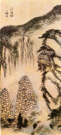 (Korea) 수미탑 in Mt Geumgang by Gyeomjae Jeong Seon. ca century CE. color on paper. Asian Artwork, Korean Painting, Modern Pictures, Smart Art, Korean Artist, Postmodernism, Conceptual Art, Chinese Art, Modern Art