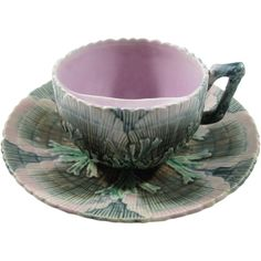Etruscan Majolica Shell & Seaweed Mustache/Moustache Cup and Saucer, from schocker on Ruby Lane