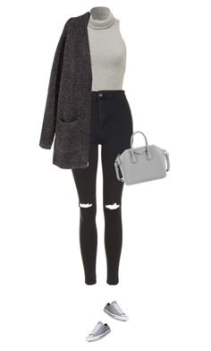 """""""Grey matters !"""" by azzra ❤ liked on Polyvore featuring Topshop, H&M, Converse, Givenchy, women's clothing, women, female, woman, misses and juniors"""