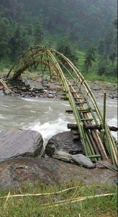sıtkı All Nature / Bamboo bridge Would love to cross this someday Diy Nature, Old Bridges, Bamboo Structure, Bamboo Architecture, Bridge Design, Pedestrian Bridge, Covered Bridges, Beautiful Landscapes, Paths