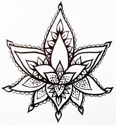 Lotus Flower Temporary Tattoo Hand Drawn Henna Style by ashinetoit
