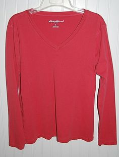 Eddie Bauer Women's Large V Neck Top Shirt Long Sleeves Coral #EddieBauer #VNeck #Casual