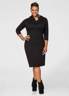 2a5e26f9c3a Cowl Neck Banded Sweater Dress-Plus Size Dresses-Ashley Stewart