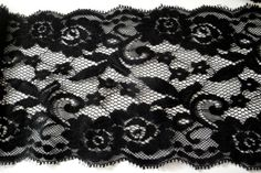 Wide Black Four Way Stretch Floral Scalloped Eyelash Stretch Lace