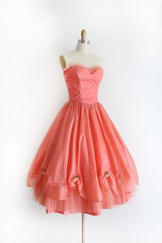 vintage 1950s dress // 50s coral pink strapless by TrunkofDresses