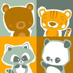 bear tiger raccoon and panda