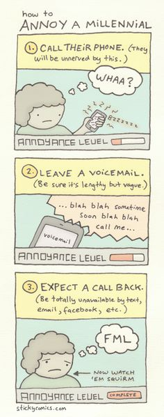 Here's a new sticky comic about millennials and phones