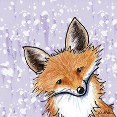 Fox On Lavender Drawing