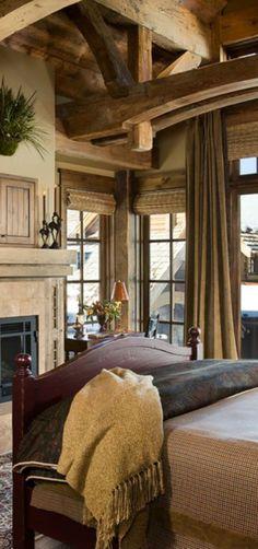Rustic Bedroom Design Ideas - Tracy Svendsen, via Canadian Log Homes Cabin Homes, Log Homes, Timber Homes, Rustic Bedroom Design, Rustic Bedrooms, Bedroom Designs, Bedroom Ideas, Home Bedroom, Master Bedroom