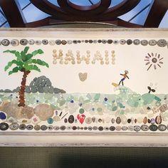 Special little project for myself using treasures from Hawaii #seaglass #seaglassart #seaurchin #shells #cowrieshell #redseaglassbitsfromsquidboatbulb#hikingoahu #beachcombing #beachcomber #humpbackwhale #surfhawaii #seamarble #coralreef #palmtrees #limpets #operculum #mainlymaineseaglass