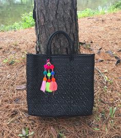 Handbag, Black tote, Oaxaca tote, handmade plastic woven bag, handbag, Mexico bag, Mexican tote