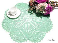 Crochet Doily Aquamarine Doily Handmade Doily by CreArtebyPatty