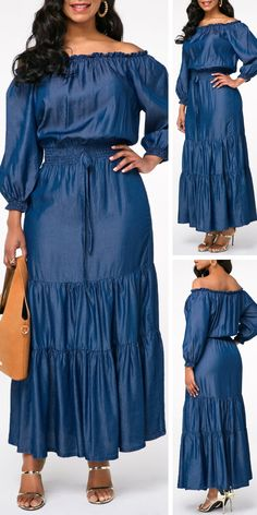 Lantern Sleeve Denim Blue Off the Shoulder Pleated Dress Funky Dresses, Dressy Dresses, Elegant Dresses, Sexy Dresses, Summer Dresses, Long African Dresses, African Fashion Dresses, Jean Dress Outfits, African Traditional Dresses