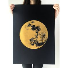 Grande lune Print impression or lune réaliste par owlsroadstudio