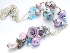 SALE Purple Flower Necklace Lampwork Flowers by shalayneoriginals, $75.00
