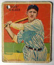 Dixie Walker Diamond Stars #12 1934 Card Poor Condition #Yankees Green Variation