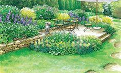 Ein langweiliger Garten soll einen neuen Sitzplatz mit schöner Rahmenbepflanzung erhalten. Wir haben zwei Ideen für einen blütenreichen Logenplatz mit Pflanzplänen zum Herunterladen und Ausdrucken.
