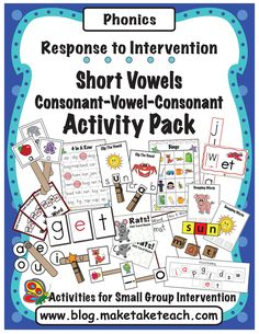 16 hand on activities for teaching short vowels and CVC words.  The step-by-step teaching manual makes the activities ideal for either teacher or para-professional led groups.