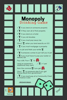 Monopoly Drinking Game, Add these rules to your next Monopoly Game and it will surely create a twist. Monopoly Drinking Game rules like drink, give drinks for getting taxes back, take a drink for landing on utilites, add drinks to free parking and many more!