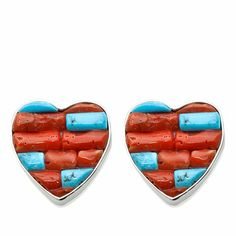 Jay King Red Coral and Kingman Turquoise Heart Earrings