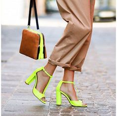 Womens Ankle T-Strap Neon Colors Block Cut Out High Heels Buckle Sandals Shoes