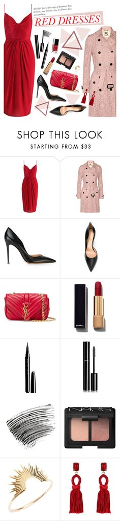 """Hot Red Dress"" by bklana ❤ liked on Polyvore featuring Burberry, Gianvito Rossi, Yves Saint Laurent, Chanel, Marc Jacobs, Bobbi Brown Cosmetics, NARS Cosmetics, Sarah & Sebastian, Oscar de la Renta and women's clothing"