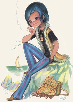 Groovy Art - Giclée Canvas Print of a Vintage Postcard Vintage Cards, Etsy Vintage, Spanish Artists, Kids Story Books, Types Of Art, Vintage Pictures, Big Eyes, Digital Image, Art Inspo