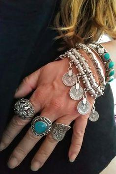 Boho Hippie Rings to stack, mix, and match. Silver Jewelry Box, Cute Jewelry, Bohemian Jewelry, Body Jewelry, Silver Earrings, Silver Ring, Gold Jewellery, Jewelry Bracelets, Diamond Jewelry