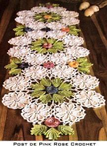 Centro de Mesa Flores e Folhas em Círculos – Crochê, runner, doily, motifs