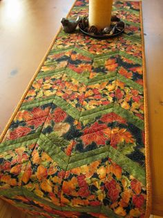 Handmade Quilted Table Runner Fall Leaves by patchworkmountain.com