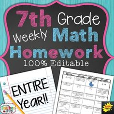 Do you need MATH HOMEWORK, WARM-UPS, or MATH REVIEW that will keep math skills fresh in your students minds all year long?  This is the resource for you!SAVE over 20% with this BUNDLE!!!This Math Homework Includes31 weeks of Common Core aligned math homework sheets (93 pages) Covers the ENTIRE YEAR of 7th grade!