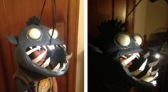 "ANGLER FISH (2013): Amanda reports that she spent three weeks to build this paper mache angler fish head (""using the San Francisco Chronicle of course — so meta!"") with a working light. I'm imagining homeowners getting hypnotized by the light, just blindly throwing handfuls of candy into the giant mouth. Bonus: A few small modifications, and this could double in 2014 as a ""Land of the Lost"" sleestack costume."
