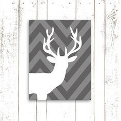 Deer Printable Chevron Deer Head Grey Deer by MooseberryPrintables, $5.00