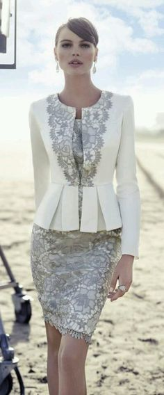 Chic look   Grey and white lace dress with peplum lace detailed white blazer. Oh so perfect for mother of the groom, a second marriage or even if the courthouse is your way, just do it in style.