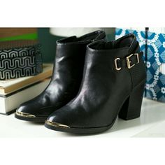 """Rock & Republic   Gold-Tip Buckle Ankle Boots Edgy black ankle booties with gold accents on tip and buckle. Worn once, but had to do a bit of walking in them so scuffs on inside are shown. Those are the only flaws. Heel: 3.5"""". Size 6, not recommended for a 6W. Price is firm. No trades. Rock & Republic Shoes Ankle Boots & Booties"""