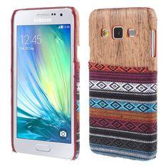 Javu - Samsung Galaxy A3 Hoesje - Back Case Hard Tribal Canvas en Houtprint Oranje   Shop4Hoesjes