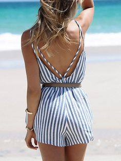 Spaghetti Strap Blue and White Striped Romper. Perfect summer spring beach romper for vacation! Sexy cute striped romper. Season :Spring Pattern Type :Striped Color :Multi Sleeve Length :Sleeveless Ma