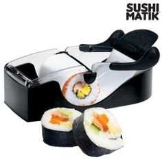 Love Japanese food but not the chore of making sushi rolls? The Sushi Matik sushi maker will mean you never have to struggle with them again! It's never been so easy to make your own rolls, not only of sushi but whatever you like. Kitchen Hacks, Kitchen Tools, Kitchen Gadgets, Smart Kitchen, Cooking Gadgets, Cooking Tools, Kit Sushi, Making Sushi Rolls, Box Maker