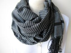 ShawlHijabBlack Gray Grey Stripe Scarf Long men's by ScarfAngel, $18.00