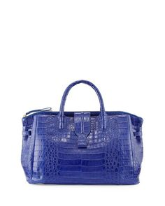 Medium Crocodile Tote Bag, Cobalt Blue (Made to Order) by Nancy Gonzalez