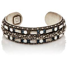 Dannijo Women's Brooks Cuff ($249) ❤ liked on Polyvore featuring jewelry, bracelets, no color, cuff bangle, swarovski crystal bangle, cuff jewelry, oxidized jewelry and dannijo