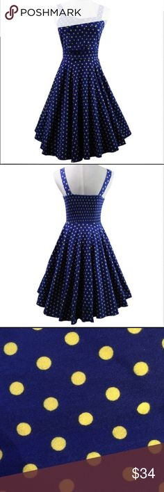 "NWT Fabulous 40s 50s Swing Vintage Dress Beautifully fitted classic style dress, knee length, straps, sweetheart neckline, concealed back zipper.   Unlined, cotton blend.  Size L 12-14,  bust 40"", waist 31.5"", length  37"".   Color is dark royal blue- brighter than navy blue. With yellow polka dots.    *Model wearing petticoat, not included Dresses Midi"