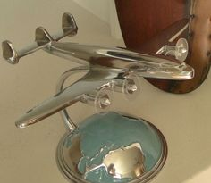 Art Deco Desktop Model Airplane with Globe | A Simpler Time $50