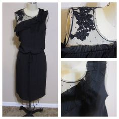 BCBG Max Azria drawstring dress Beautiful sheer top and pleated drawstring dress. BCBGMaxAzria Dresses