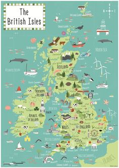 Beautiful, vibrant & fun illustrated map of the British Isles showing main towns, cities, places of interest, landmarks and flora & fauna. Travel Maps, Travel Posters, Travel Destinations, Travel Europe, United Kingdom Countries, United Kingdom Map, Snowdonia, Australia Map, Map Design
