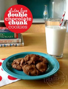 If you're a fan of chocolate you will love these Gluten Free Double Chocolate Chunk Cookies! They make a perfect afternoon snack for the kids too!  -- from ThePeacefulMom.com