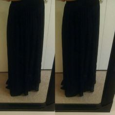 Lovely black chiffon style maxi skirt Lovely black chiffon style maxi skirt. Full length down to ankles skirt with the outer layer. Lined to just above the knee. Decree Skirts Maxi