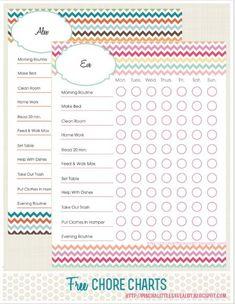 Free Printable Daily Chore Chart  Daily Chore Charts Free