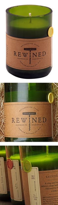 Rewind Candles - Recycled from a used wine bottle, this natural soy wax candle has an extravagant aroma of fig, cranberry, leather and earth for a luxurious, seductive scent. Light it up for a touch of rustic musk – instant serenity and relaxation.